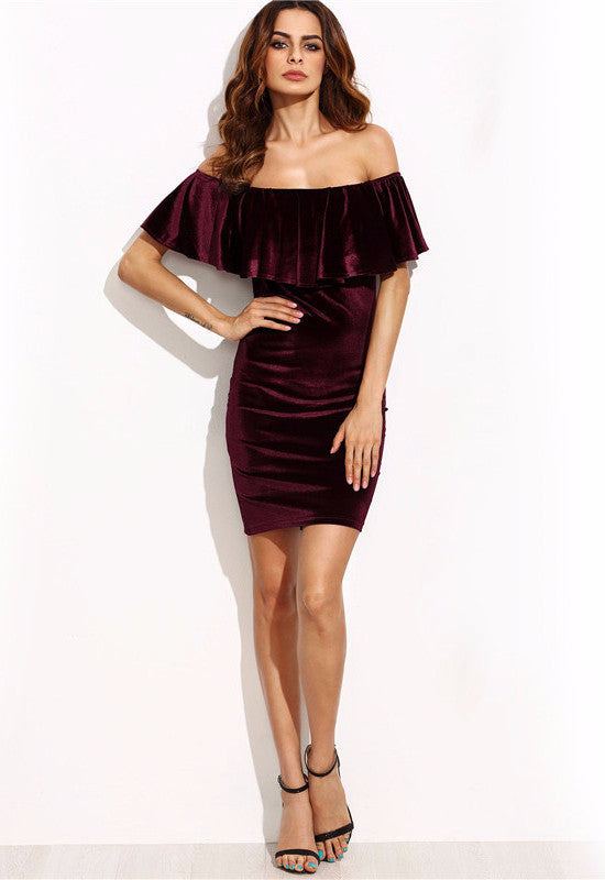 Burgundy Velvet Off Shoulder Bodycon Dress-POSH GIRL-Posh Girl