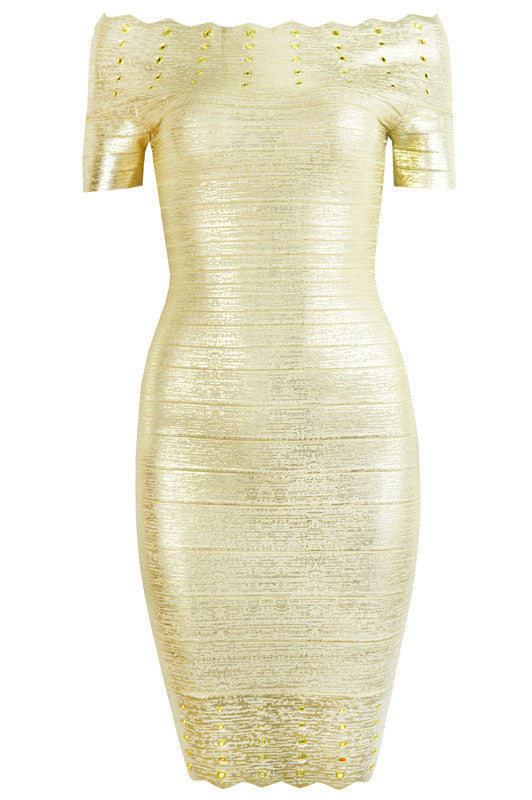 Gold Foil Print Off Shoulder Bandage Dress for $1.88 at Posh Girl