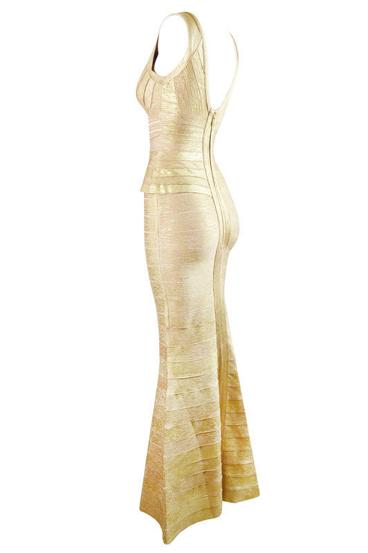 Gold Peplum Foil Print Bandage Gown for $2.58 at Posh Girl