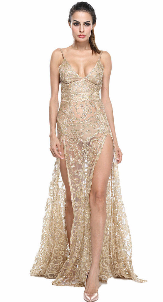 Nefertari Gold Lace Dress Gown-POSH GIRL-Posh Girl