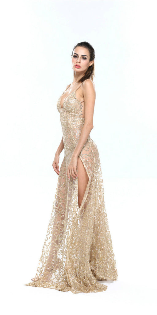 Nefertari Gold Lace Dress Gown for $1.88 at Posh Girl