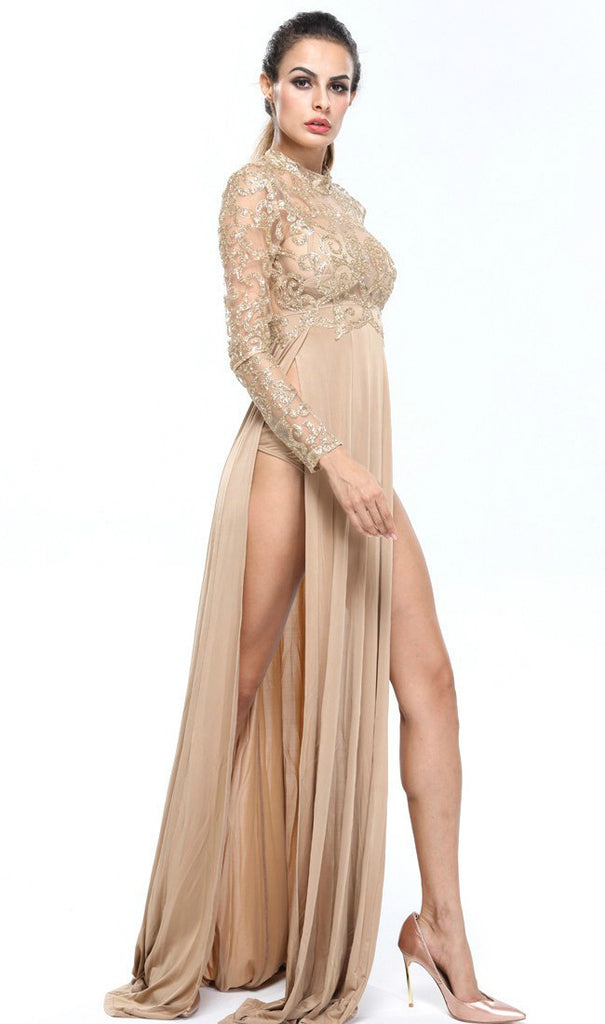 Persia Gold Lace Knit Long Sleeve Dress Gown-POSH GIRL-Posh Girl