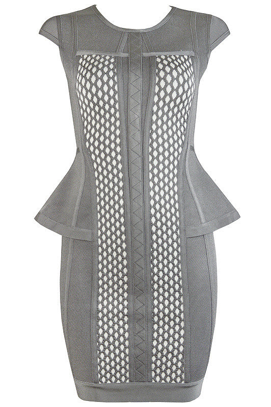 Gray Cutout Peplum Bandage Dress-POSH GIRL-Posh Girl
