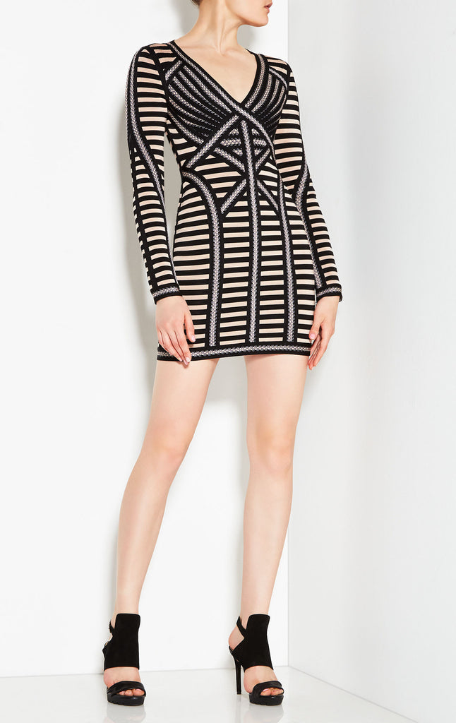 Lula Black Multi Long Sleeve Bandage Mini Dress