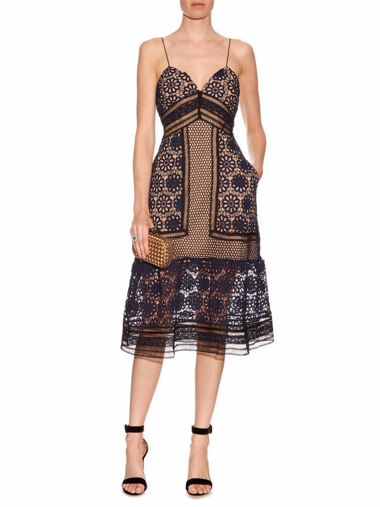 Navy Blue Embroidered Lace Midi Length Dress-Posh Girl-Posh Girl