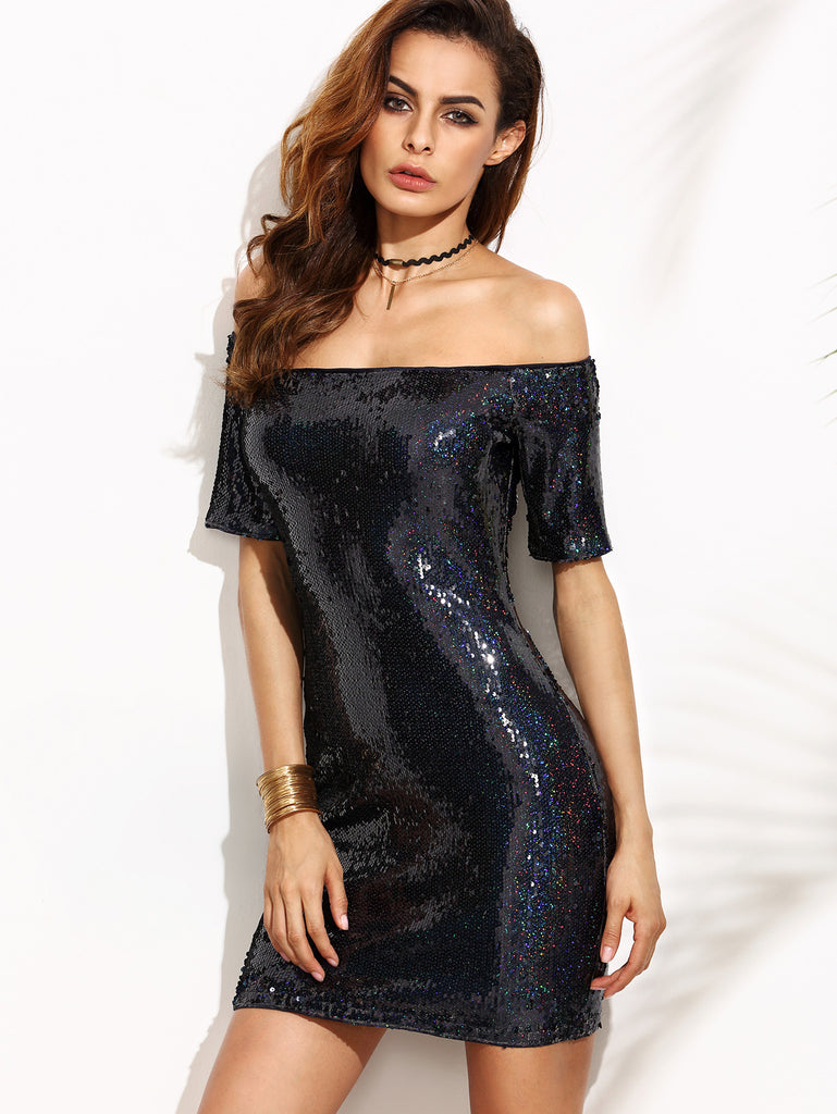 Navy Blue Off Shoulder Sequins Mini Dress