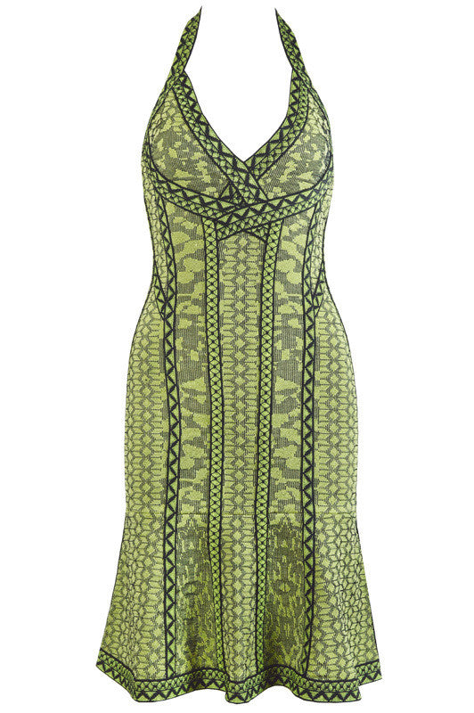 Olive Green Print Halter Bandage Dress-POSH GIRL-Posh Girl