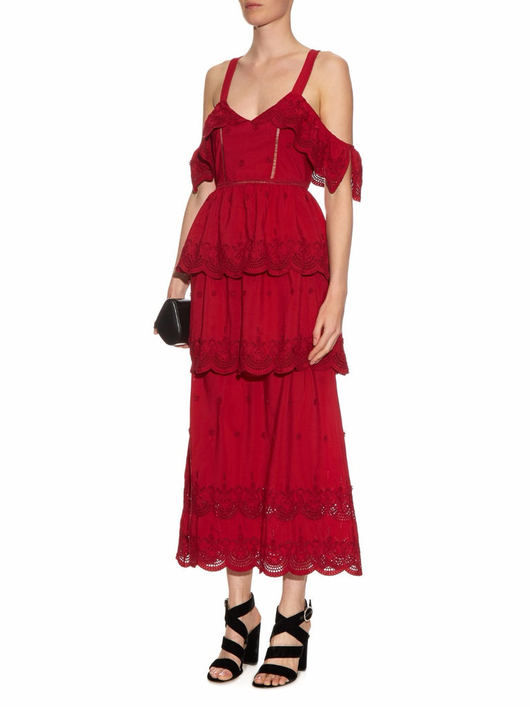 Red Embroidered Lace Cold Shoulder Maxi Dress