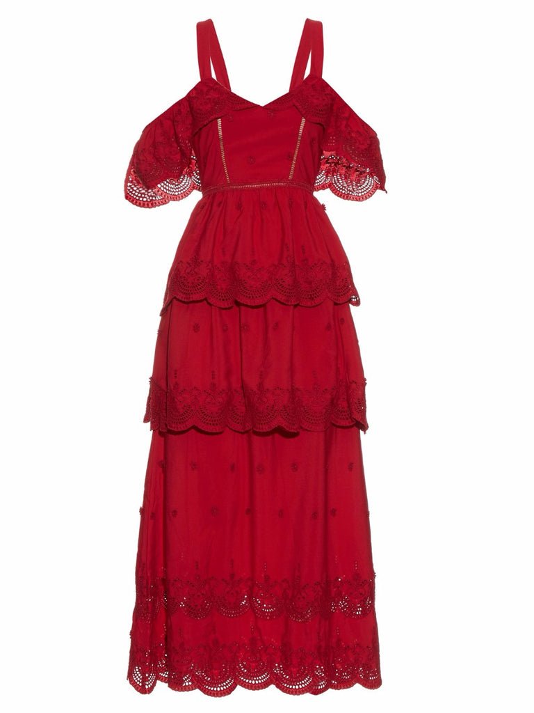 Red Embroidered Lace Cold Shoulder Maxi Dress for $2.18 at Posh Girl