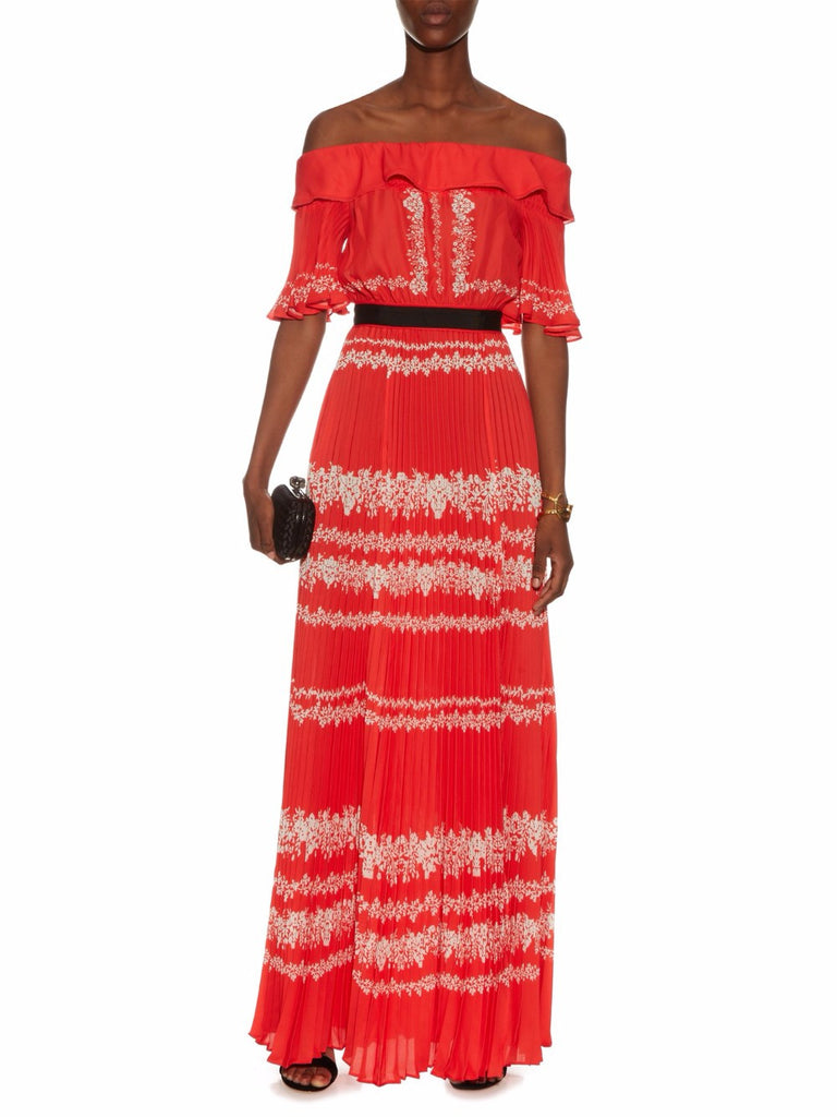 Red Off Shoulder Pleated Maxi Dress