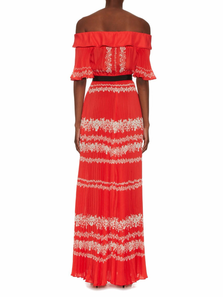 Red Off Shoulder Pleated Maxi Dress for $2.18 at Posh Girl