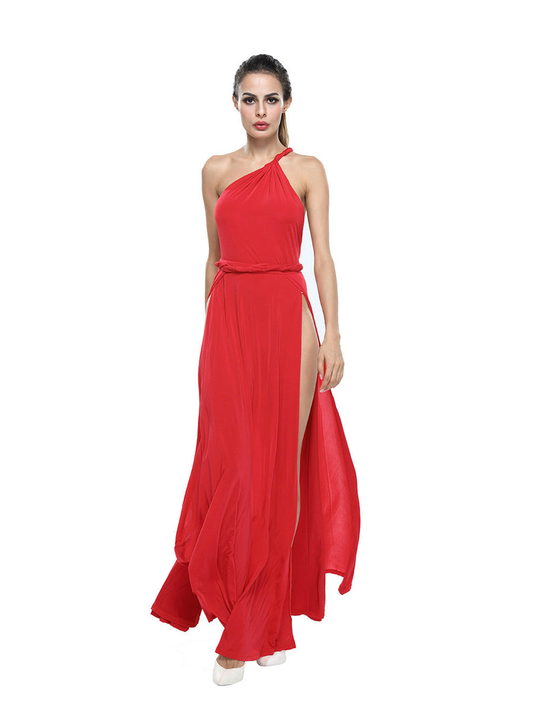 Red One Shoulder Open Back Knit Gown