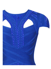 Royal Blue Beaded Cut-Out Bandage Dress for $2.38 at Posh Girl