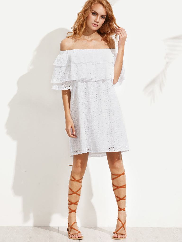 White Lace Ruffled Off Shoulder Mini Dress-POSH GIRL-Posh Girl