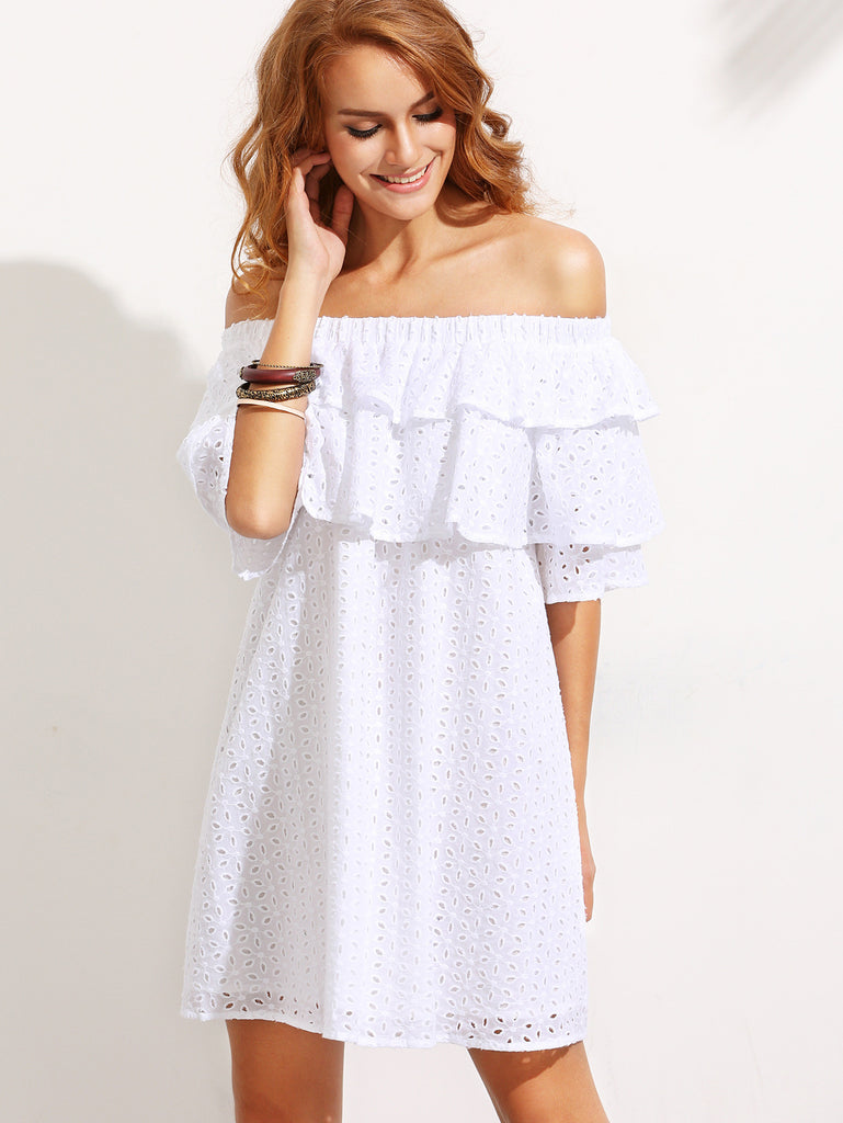 White Lace Ruffled Off Shoulder Mini Dress for $0.88 at Posh Girl