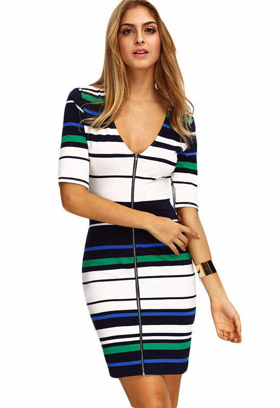 White Stripe Color Zip Front Bodycon Dress-POSH GIRL-Posh Girl