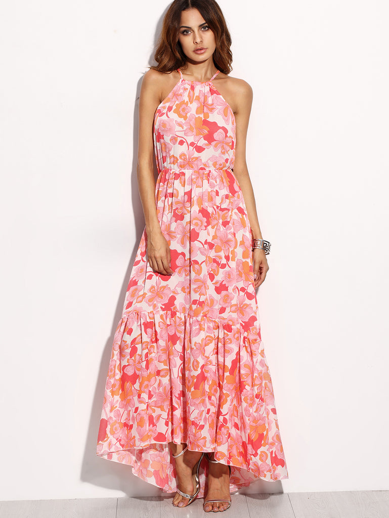 Floral Chiffon Halter High-Low Maxi Dress-POSH GIRL-Posh Girl