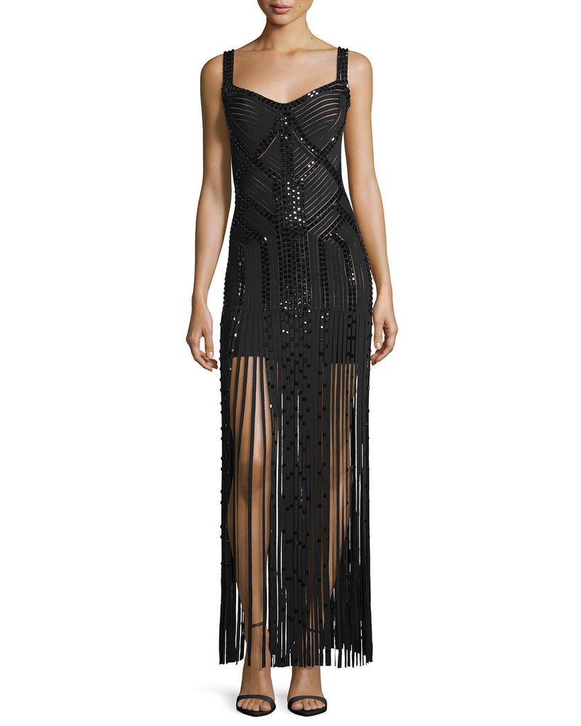 Susana Black Beaded Fringe Bandage Gown
