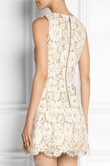 alice olivia Leann Sleeveless Bell Dress Floral Lace cotton-blend guipure for $2.48 at Posh Girl