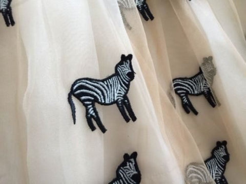 Alice Olivia Preena Zebra embroidered Pouf Dress for $3.78 at Posh Girl