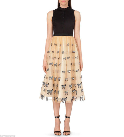 Alice Olivia Zebra-motif silk tulle mid length Kir Dress for $3.58 at Posh Girl