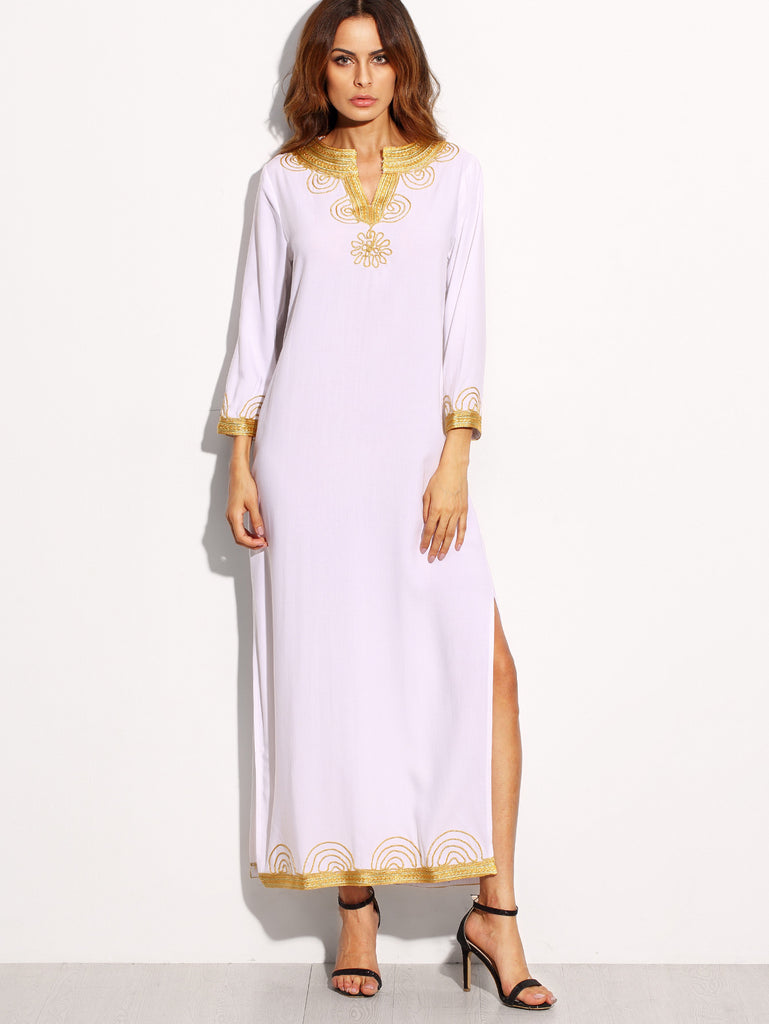 White Embroidered Maxi Dress-POSH GIRL-Posh Girl
