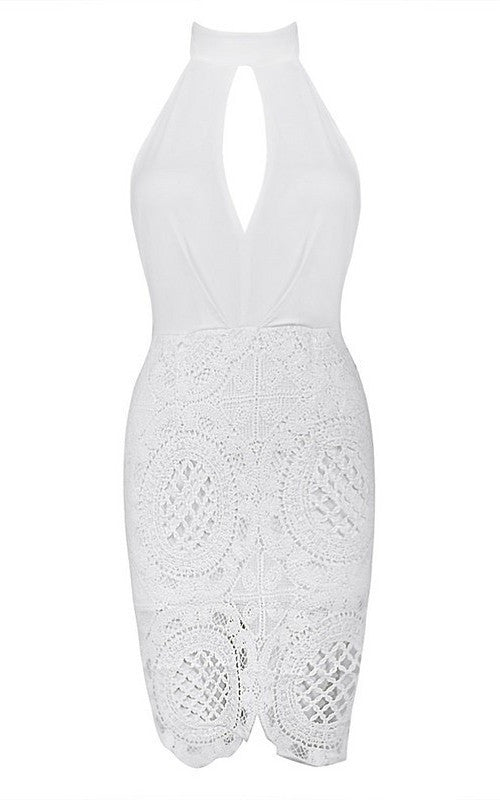 Posh Girl Lace Halter Bandage Dress-POSH GIRL-Posh Girl