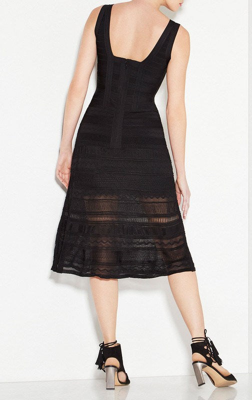 Dresses,New,Collections - Posh Girl Black Lace And Bandage Midi Dress
