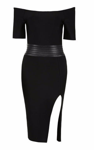 Dresses,New,Collections - Posh Girl Black Off Shoulder Bandage Cocktail Dress