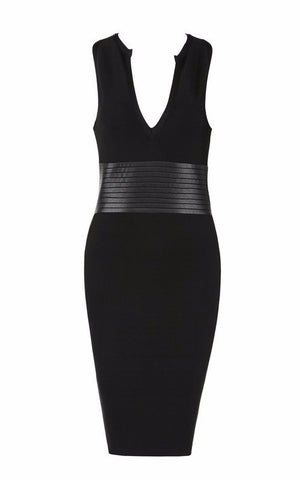 Dresses,New,Collections - Posh Girl Black V-Neck Cocktail Bandage Dress