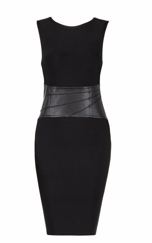 Black Vegan Leather Bandage Cocktail Dress-POSH GIRL-Posh Girl