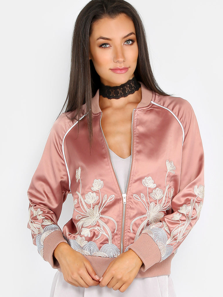Pink Satin Embroidered Bomber Jacket-POSH GIRL-Posh Girl