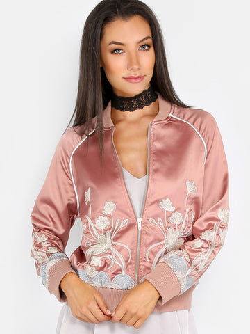 Pink Satin Embroidered Bomber Jacket for $1.18 at Posh Girl