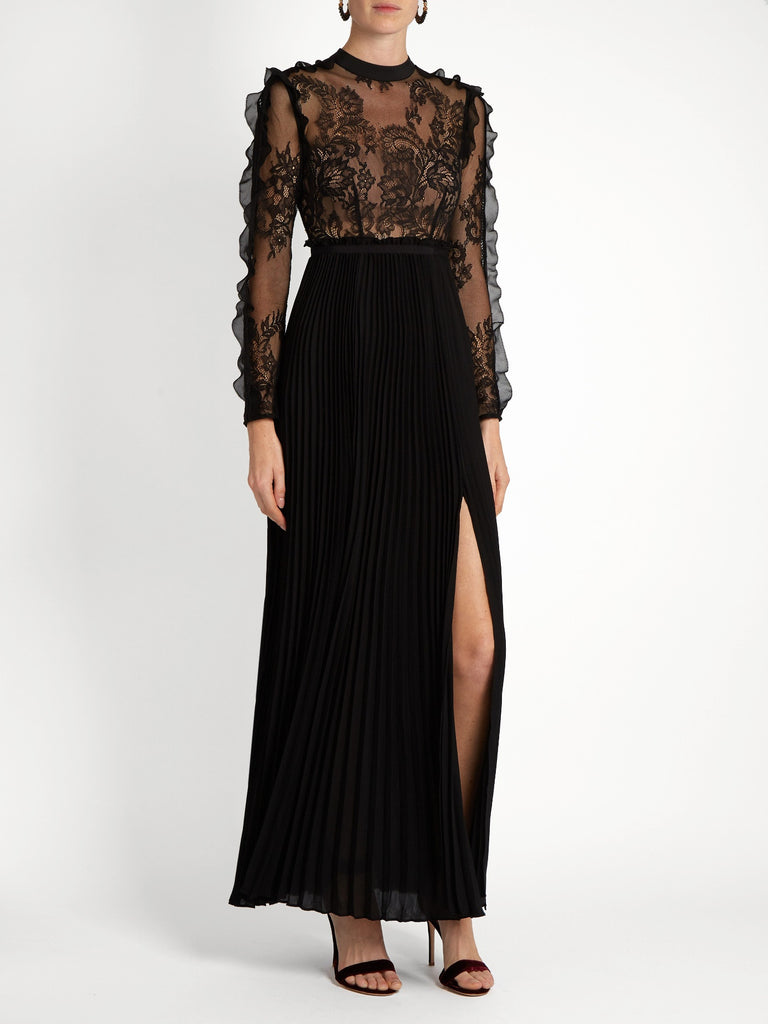 Black Lace And Pleated Crepe Maxi Dress for $2.38 at Posh Girl
