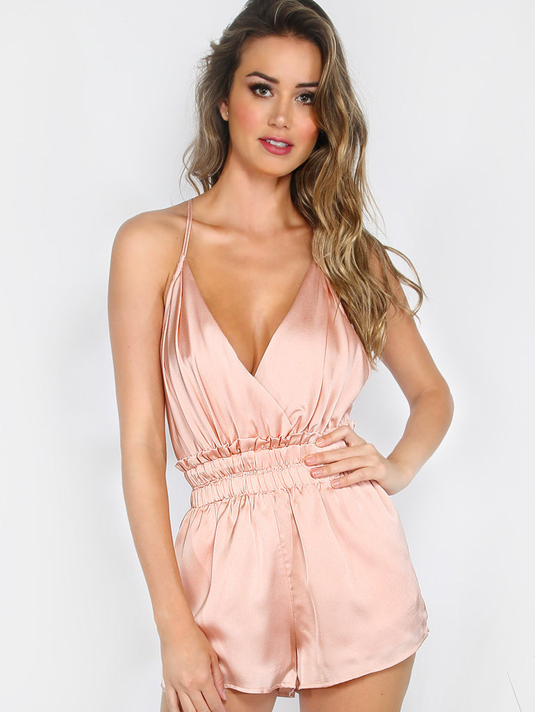 Pink Satin Low Open Back Romper-POSH PROVOCATEUR-Posh Girl