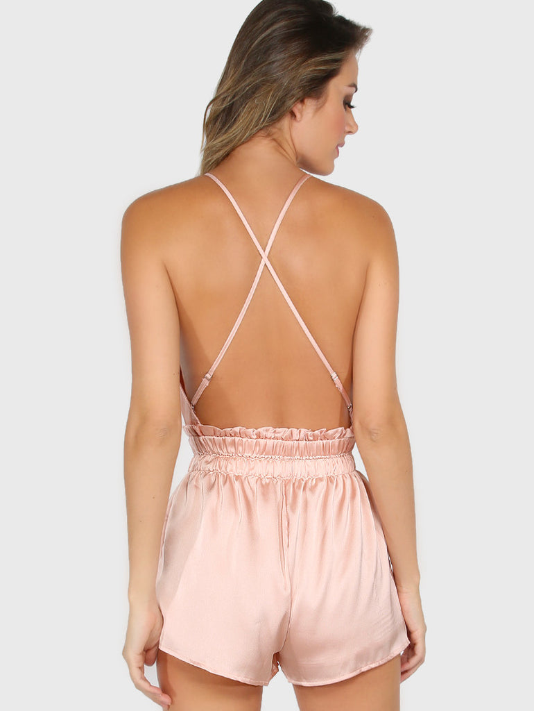 Pink Satin Low Open Back Romper for $0.88 at Posh Girl