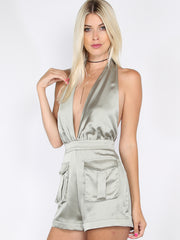 Sage Safari Satin Halter Romper for $0.88 at Posh Girl