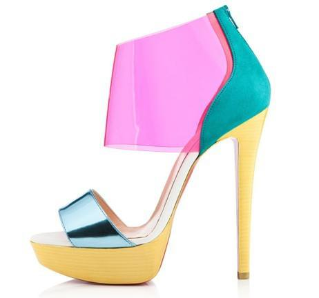 POSH GIRL DORI PVC Platform Sandals, Yellow-POSH GIRL-Posh Girl