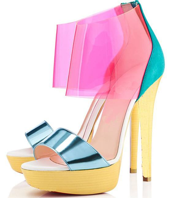 Sandals,Shoes - POSH GIRL DORI PVC Platform Sandals, Yellow
