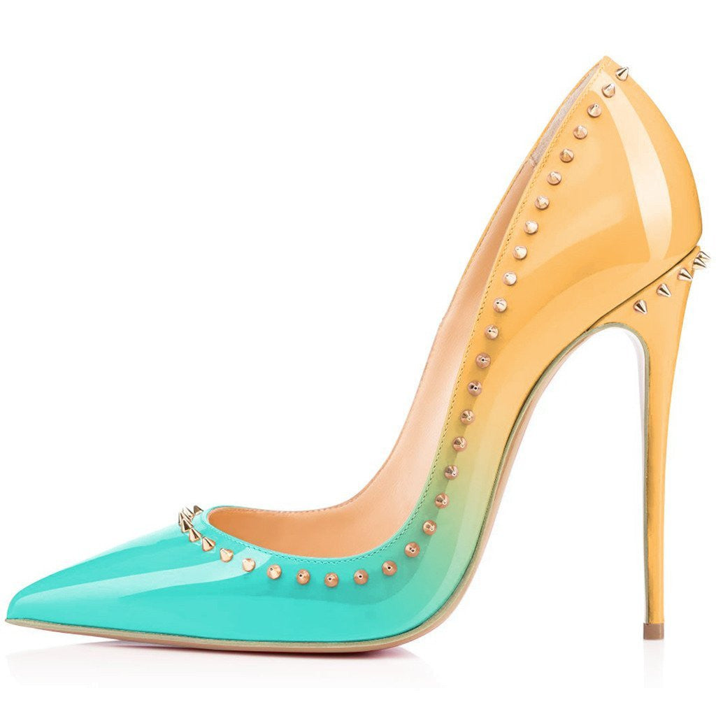 Mango Sherbet Studded Leather Stiletto Pumps-POSH GIRL-Posh Girl