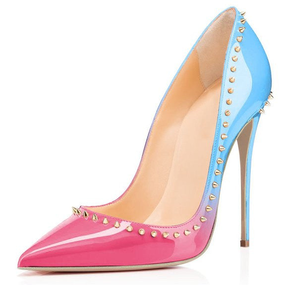 Paradise Blue Studded Leather Stiletto Pumps-POSH GIRL-Posh Girl