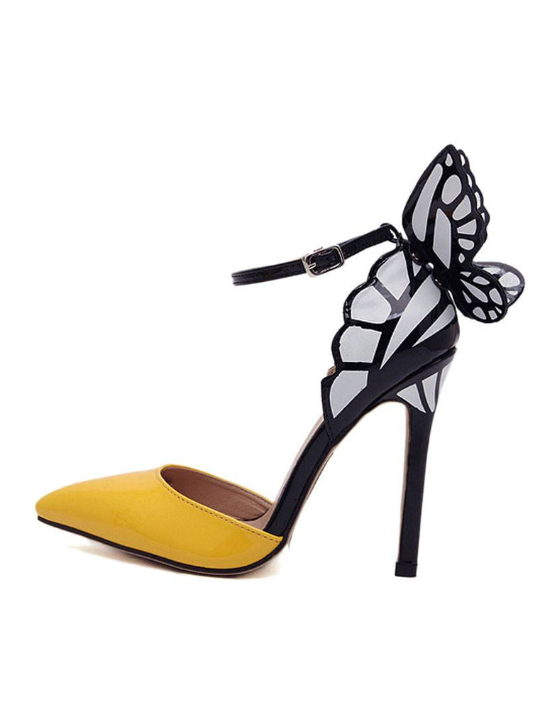 Shoes,Pumps - Posh Girl Yellow Butterfly Stiletto Shoes