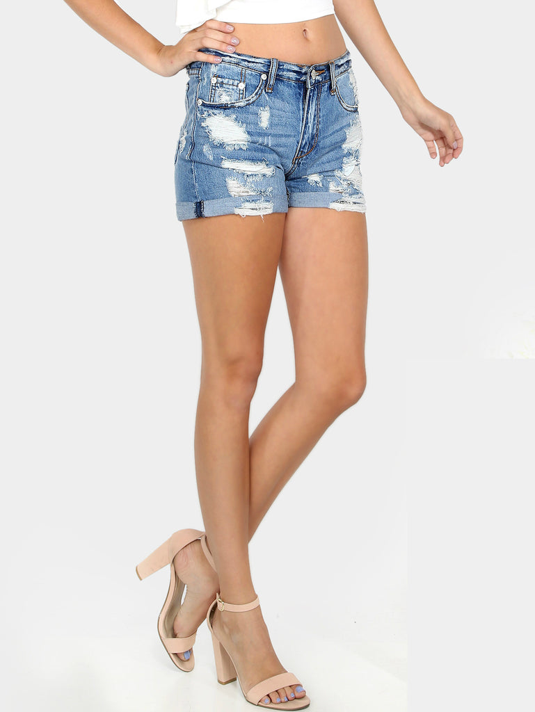 Dark Blue Denim Shorts for $0.58 at Posh Girl