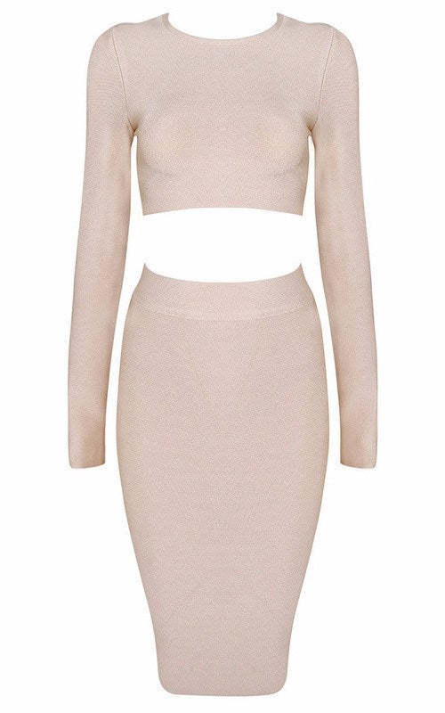 Posh Girl  Long Sleeve Bandage Skirt Set-POSH GIRL-Posh Girl