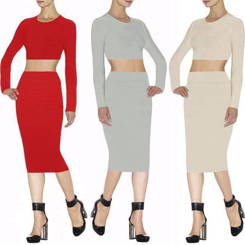 Skirt - Posh Girl  Long Sleeve Bandage Skirt Set