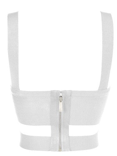 Criss-Cross Bandage Crop Tank  Top White for $0.78 at Posh Girl