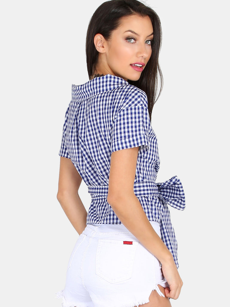 Blue And white Checker Blouse for $0.48 at Posh Girl