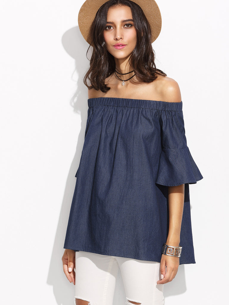 Chambray Off Shoulder Blouse for $0.38 at Posh Girl