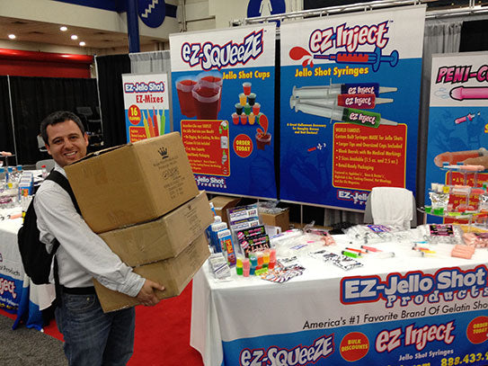 Bulk customers purchasing on the spot during the Party Supply Tradeshow