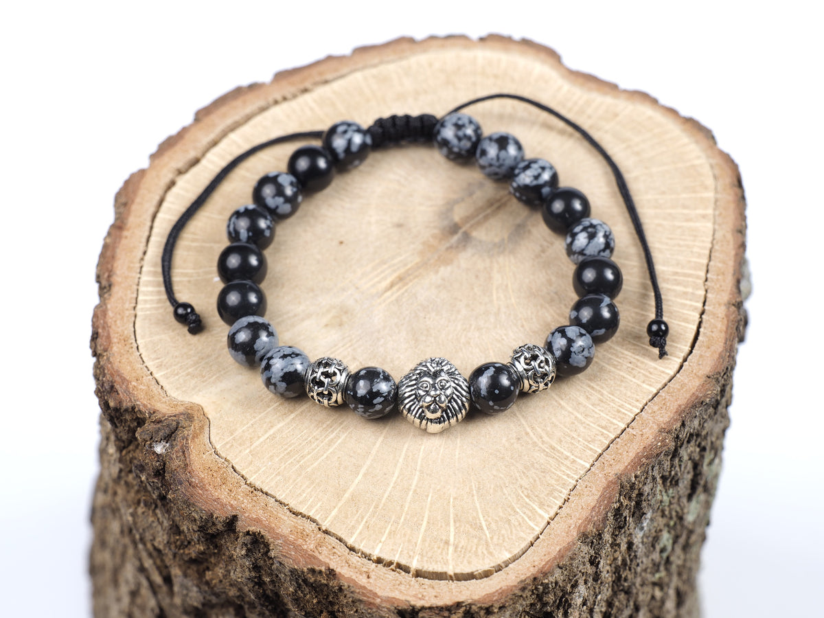 Black Snowflake Obsidian Adjustable Bracelet with a Lion Head Charm